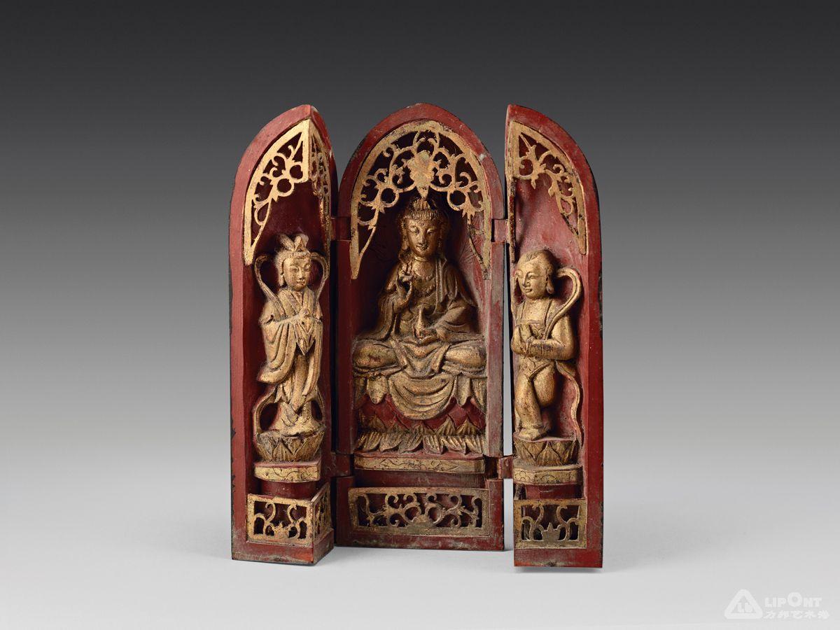 木制雕刻三尊佛龛